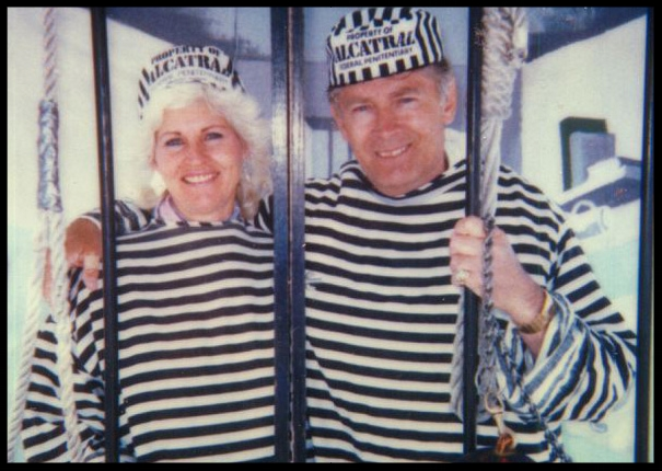 """Tourists James """"Whitey"""" Bulger and his then-girlfriend, Teresa Stanley, pose for a picture at a shop outside Alcatraz prison in the early 1990s.  (Stanley photo obtained by WBUR's David Boeri)"""