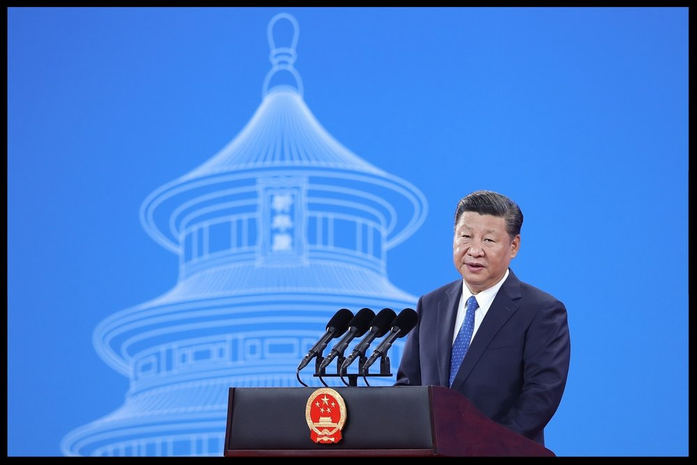 Chinese President Xi Jinping speaks during the 86th Interpol General Assembly at the Beijing National Convention Center on September 26th, 2017, in Beijing, China. (Photo: Lintao Zhang-Pool/Getty Images)