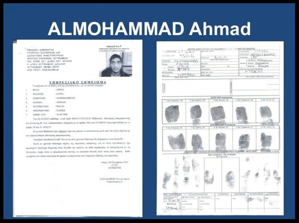 A document issued to 25-year-old Ahmad Almohammad, the name on the fake Syrian passport found near a dead assailant in the scene of a Paris attack Friday.  (Greek Migration Policy Ministry via AP)