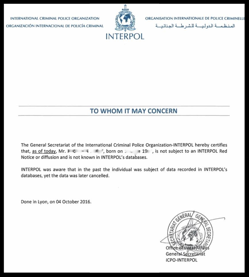 A recent letter from Interpol regarding an Amicus International client.