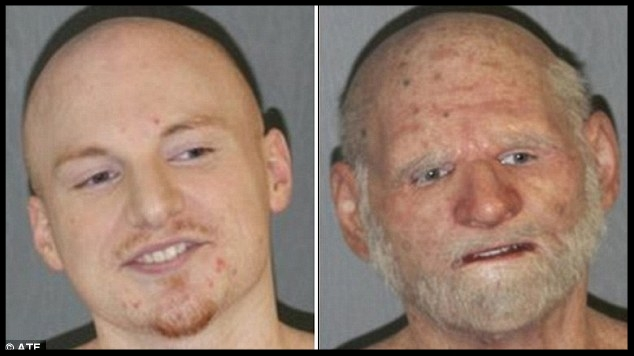 Fugitive Shaun Miller, 31, (left) was found at a Massachusetts home wearing a disguise as an elderly man (right), police said