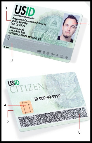 What the US. National ID. card could look like with its security features.
