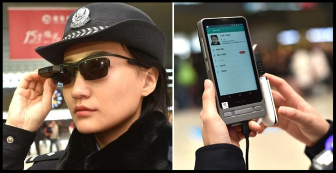 The glasses are connected to a tablet device that searches for matches of faces scanned. Photo: AFP