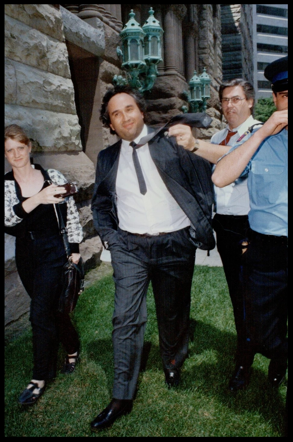 Immigration lawyer Martin Pilzmaker is freed on C$75,000 bail in Toronto on July 6, 1989. Pilzmaker, charged with more than 50 immigration-related offences, committed suicide on April 19, 1991, two weeks before his trial was due to begin. Photo: Getty Images