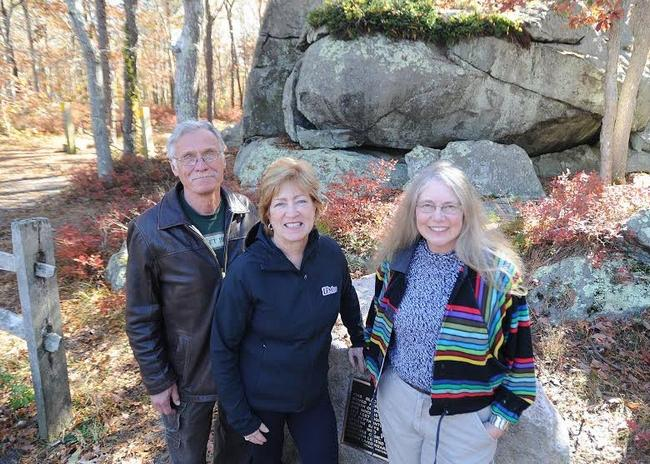 Jon & Kathy Ohman, and PJ Rainwater of F.O.R.W.A.R.D. stand in front of Hokum Rock-nearby the site of F.O.R.W.A.R.D.'S proposed affordable housing development, s dennis, ma ~  photo by David colantuano