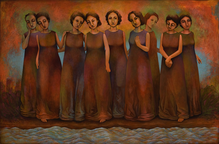 Muses of the Song Unsung  oil on wood.  32 x 48 inches