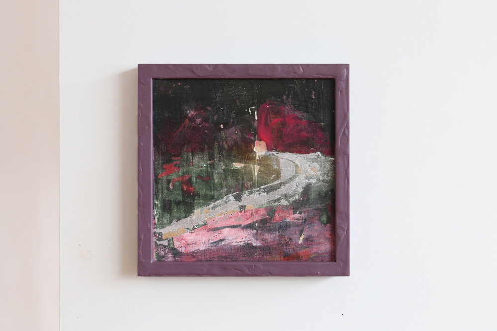 Soft Passage,  oil, acrylic and silver leaf on board, 220 x 220mm, 2017. (Photographed by Daegan Wells).