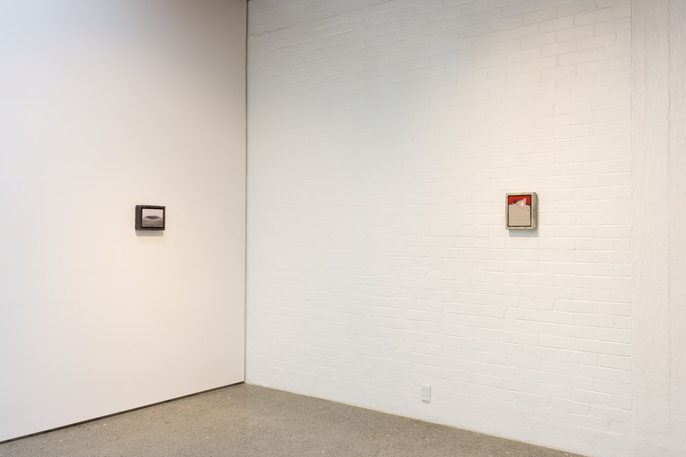 Install shot of   Double Dribble 2   at The National, Christchurch  Work featured:   Alley-oop 5  , oil on board, steelo and resin frame, 205 x 255mm, 2019 (left)   Zone 3-1-4,   acrylic on board, pewter, 255 x 205mm, 2018 (right)  Photo credit: Mitchell Bright