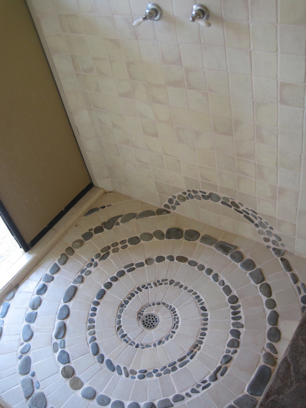 Custom tilework in the outdoor shower