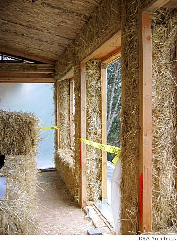 Image 11/13  The 2-foot thick walls of the Roble Road house soak up sunlight during the day and radiate heat at night. They provide at least 3 times the insulation value of a typical Bay Area home.