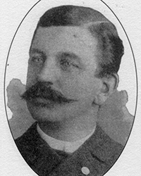 WILLIAM H. MEDLEY, 1853 – 1917. Born in England, Medley was the son of Joseph and Hannah (Chambers) Medley. A member of the Fall River Police Department as of 1880, he was a patrolman at the time of the Borden murders. In 1910, he was appointed assistant city marshall and, in 1915, promoted to City Marshall. He died in an automobile accident in Fall River, in 1917. Medley was one of the first police officers to arrive at the scene of the crime. His testimony at the trial detailed his observations there that day.