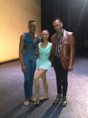 "Darius with his partner, Jenelle Figgins and choreographer, Robert Garland. Darius made principal debut in Robert Garland's ""Gloria"" during DTH's 2014 Jazz @ Lincoln Center season."