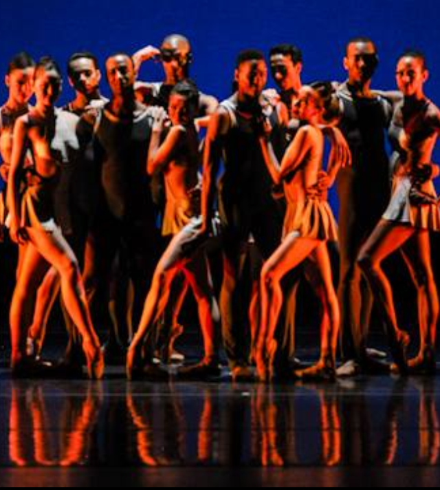 "Darius (center) with the Dance Theatre of Harlem, in the principal role in Robert Garland's ""Return"" on tour in Ottowa, Canada"