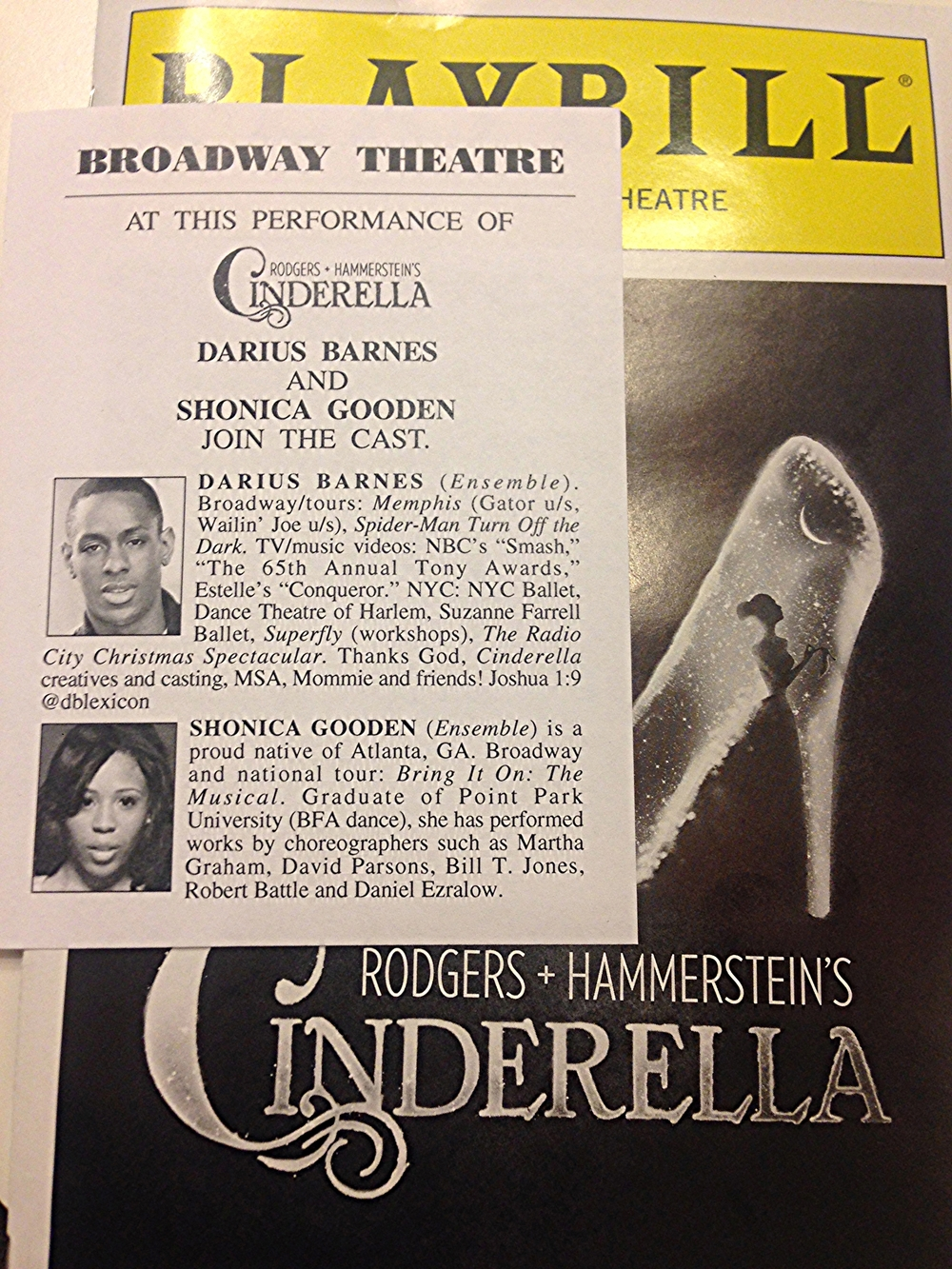 Darius' announcement in Playbill.