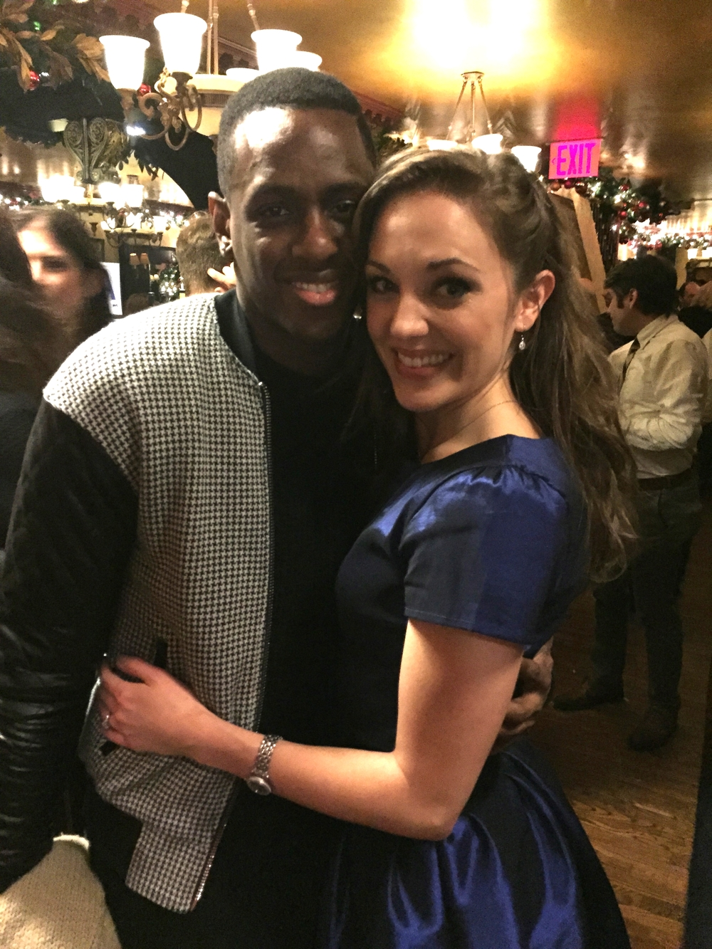 Darius at the closing night party, with Broadway star, Laura Osnes