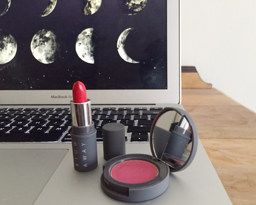 Creme Lipstick in Scarlet and Cheek & Lip Rouge in Peony.