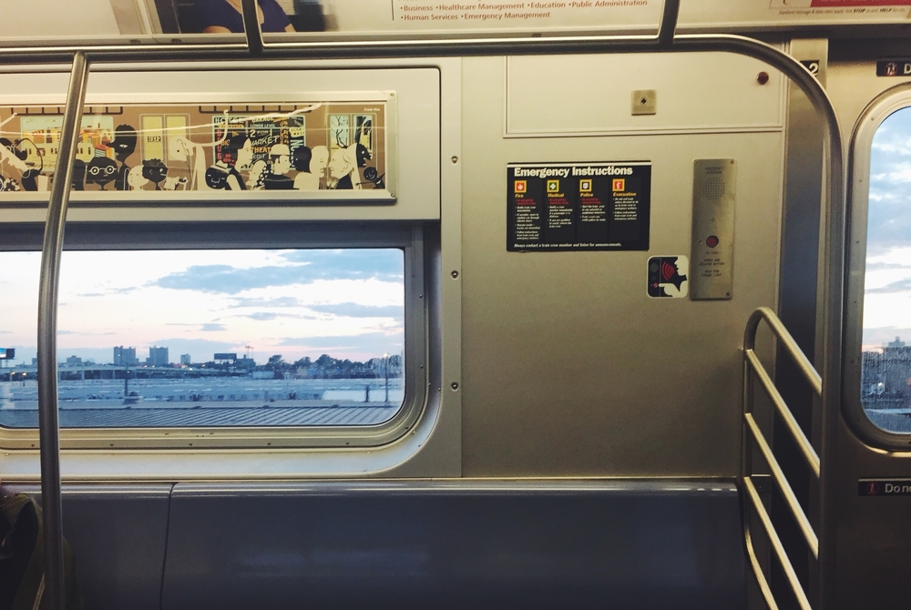 Sunset view from the F train. Photo cred: Theo.