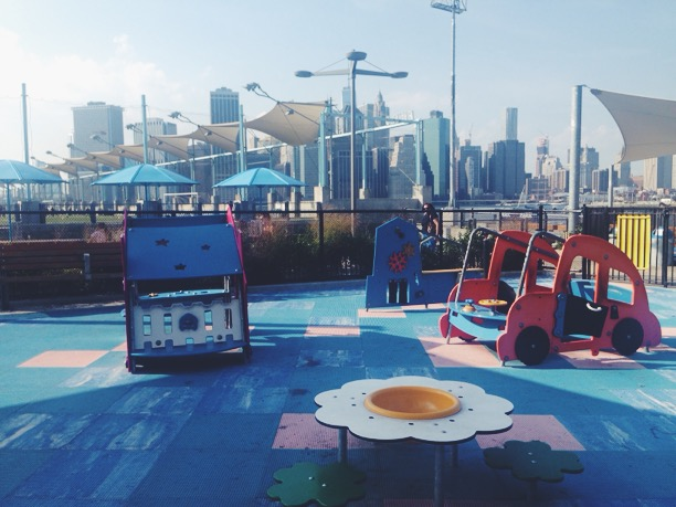 The view from my bench at Lamb's favorite Brooklyn Bridge Park playground.