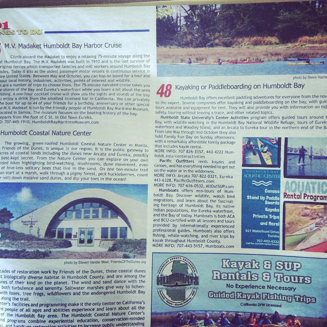 Check us out on page 63 in the #101ThingsToDoInHumboldt magazine! #48 #kayaking #paddleboarding #humboldtbay