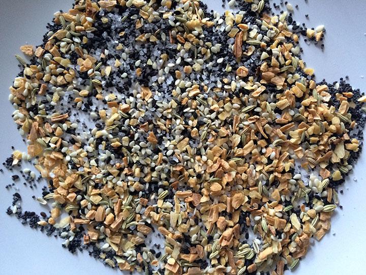 Everything spice: poppy, sesame, black sesame, onion flakes, garlic flakes, kosher salt, fennel seeds