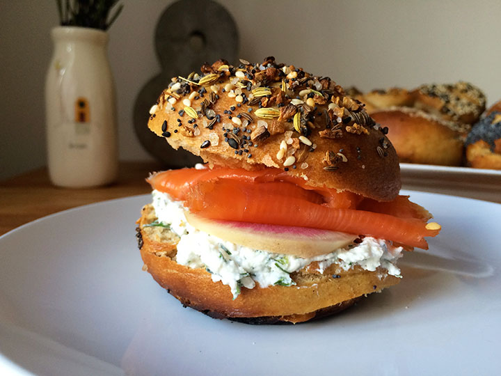 Everything bagel with horseradish dill spread, smoked salmon, and watermelon radish
