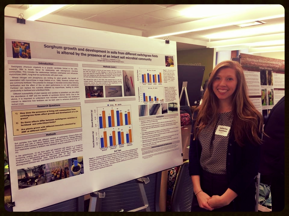 Katherine Grantham presenting her project at the University Undergraduate Research and Arts Forum (MSU, 10 Apr 2015)