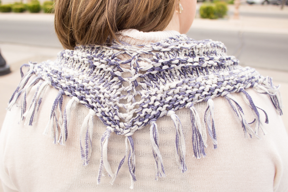 The back view! Looks like a shawl, wears like a cowl! No ends!