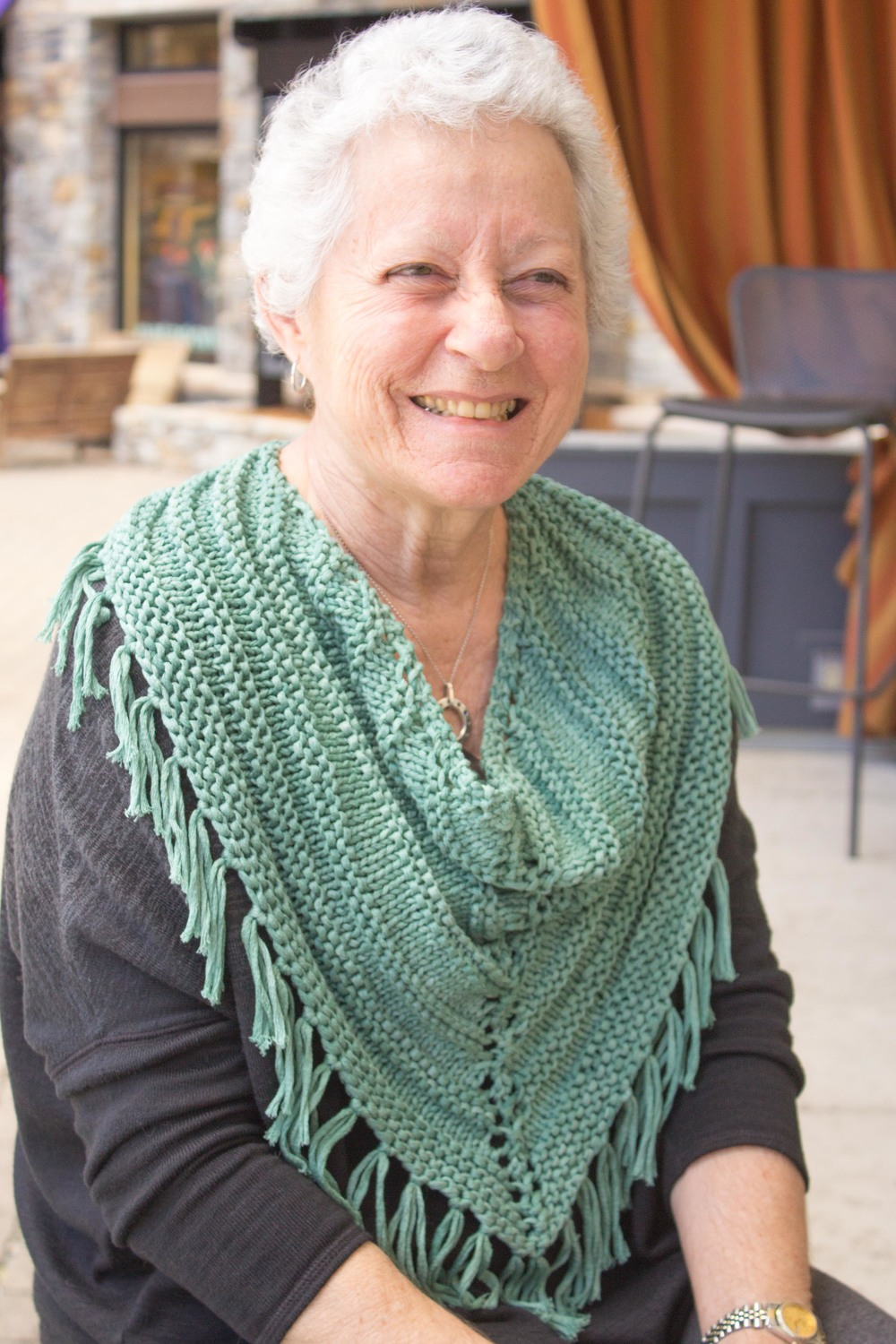 My green version in Berroco Karma modeled by the one and only amazing Sandy!