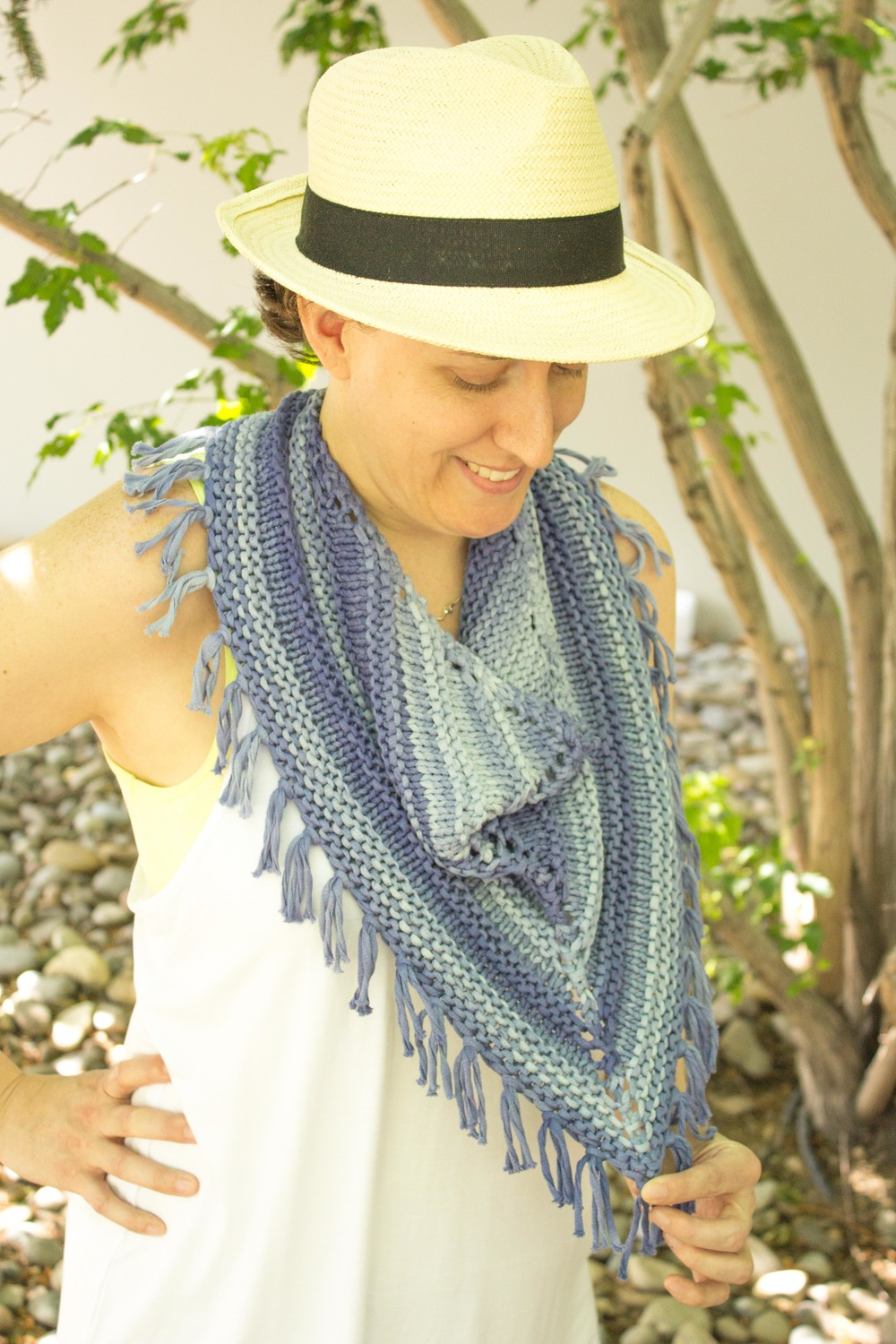This version is knit in Debbie Bliss Delphi. Love the tonal stripes!