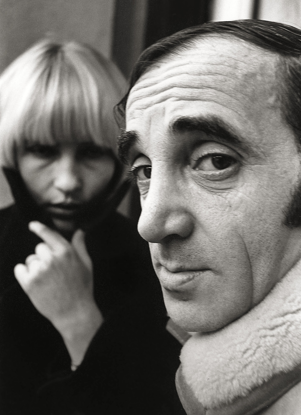 Charles Aznavour, singer and actor. Ulla Azanavour.  Near Paris.  60's      Photograph by Frank Habicht