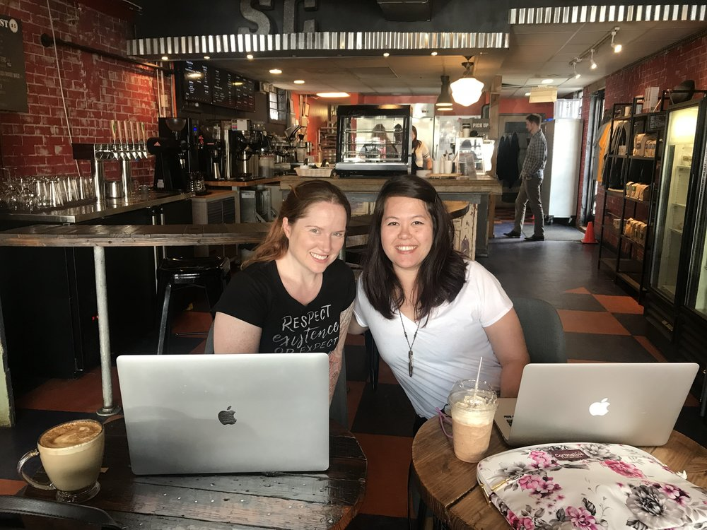 REUNITED AND IT FEELS SO GOOD: Melissa and me working together at Smelly Cat, one of our favorite coffeeshops in Charlotte. (Photo taken by unknown coffee drinker, February 24, 2018)