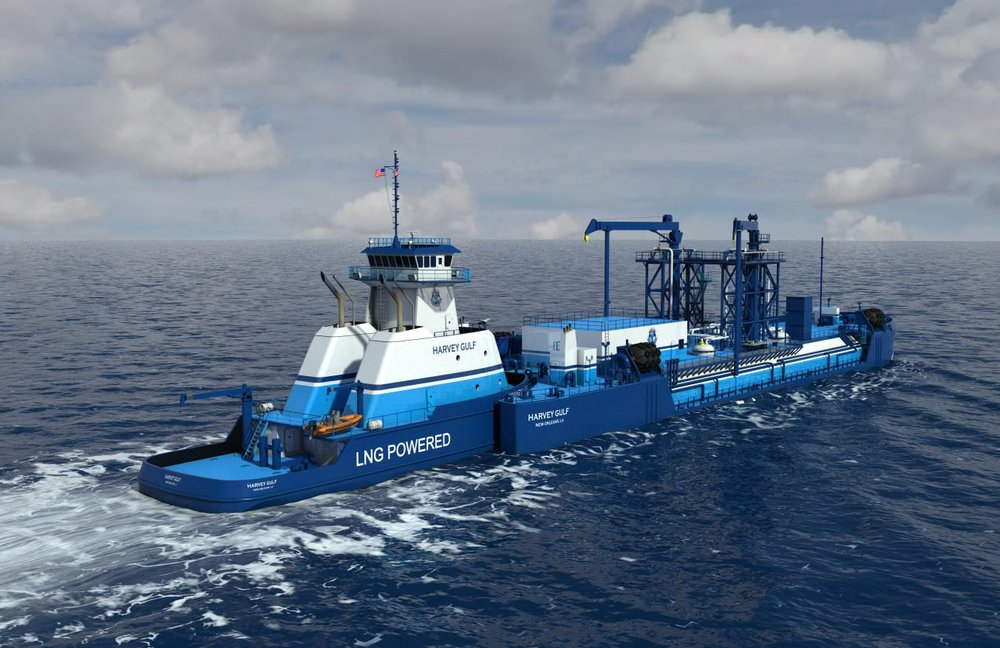 Harvey Gulf International Marine articulated ATB/articulated tug barge vessel for bunkering liquefied natural gas.