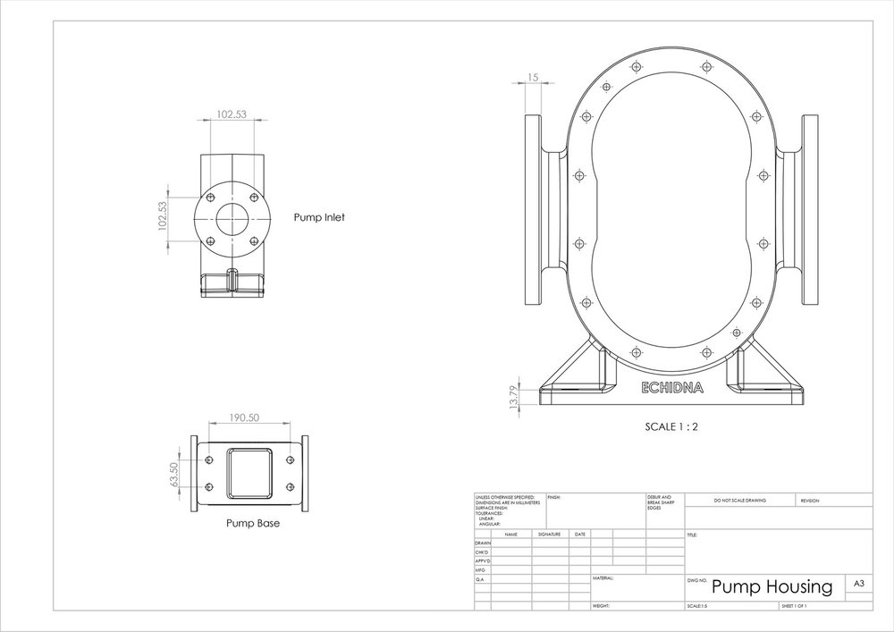 pump casing dimensions