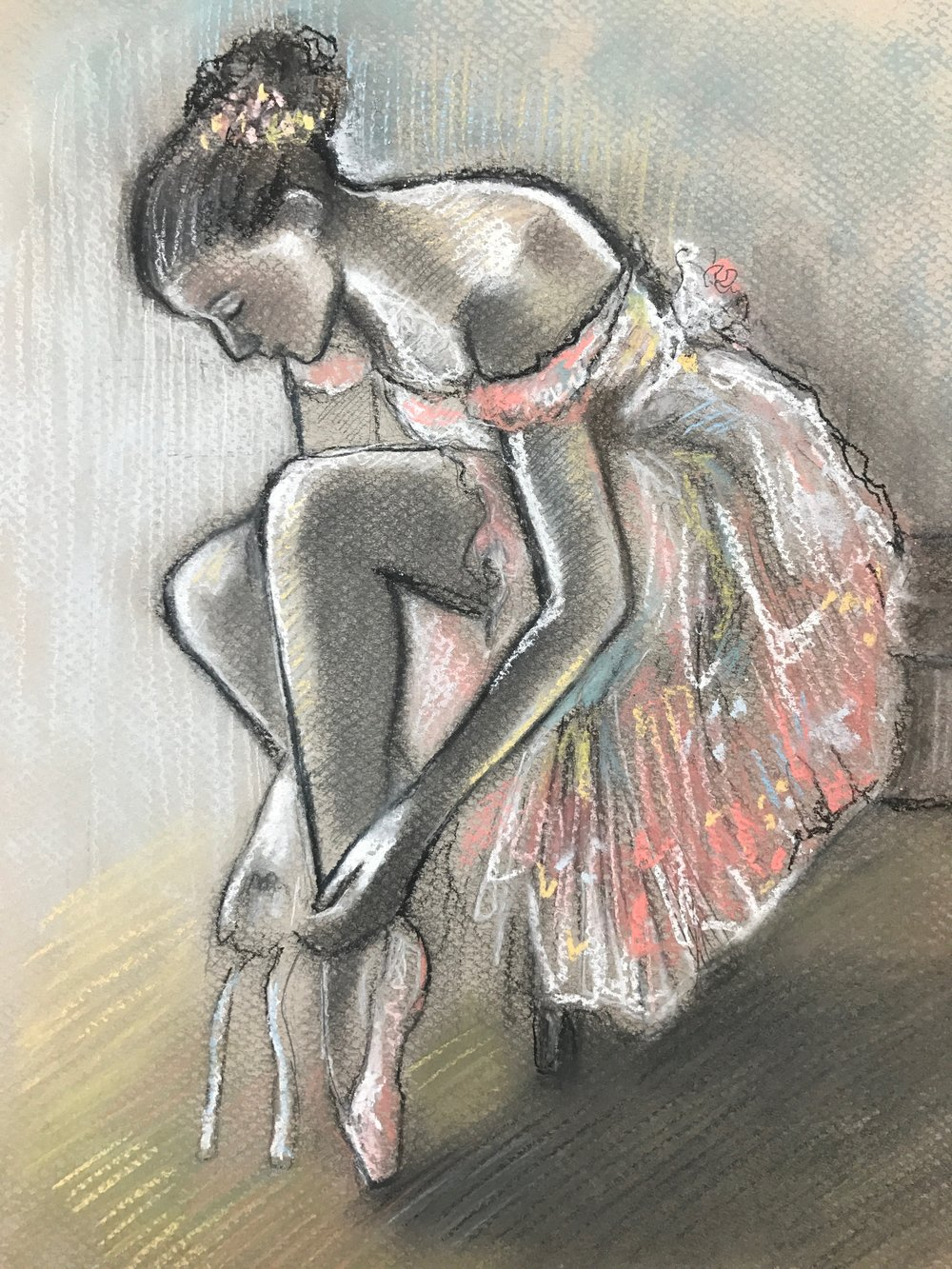 Degas, Dancer putting on her slipper 1896