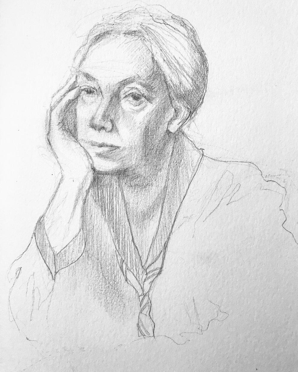 My sensitively rendering pencil sketch of Kathe Kollwitz.