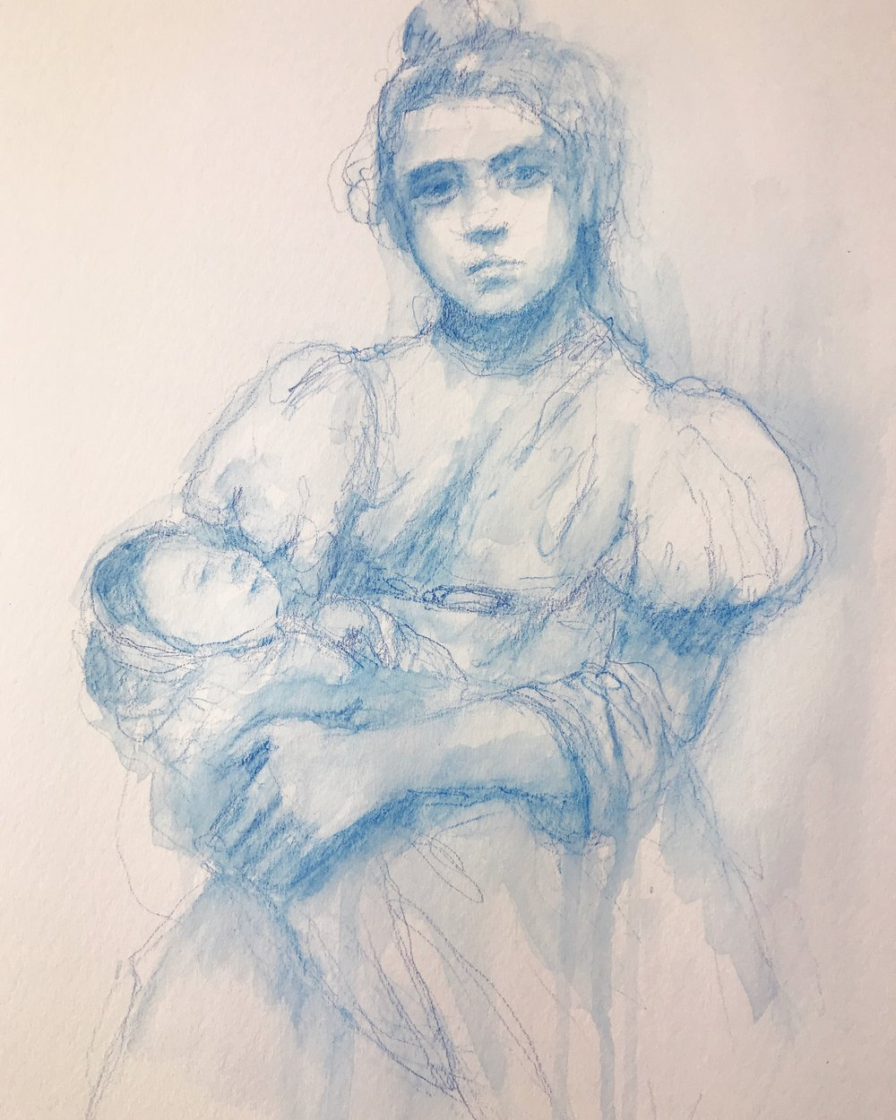 Blue sketching from historical images.