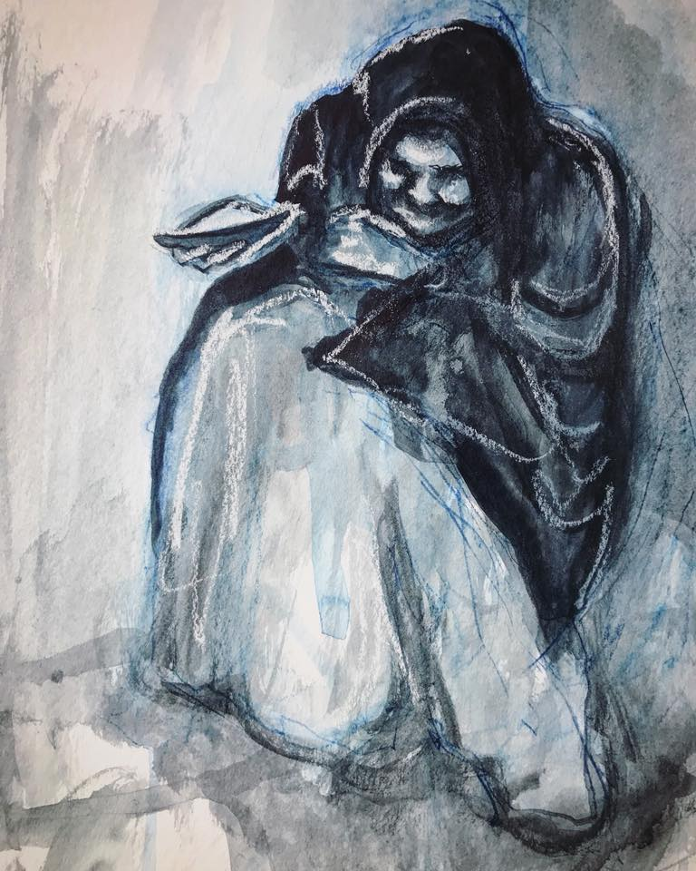 Study of Beggar woman done in mixed media