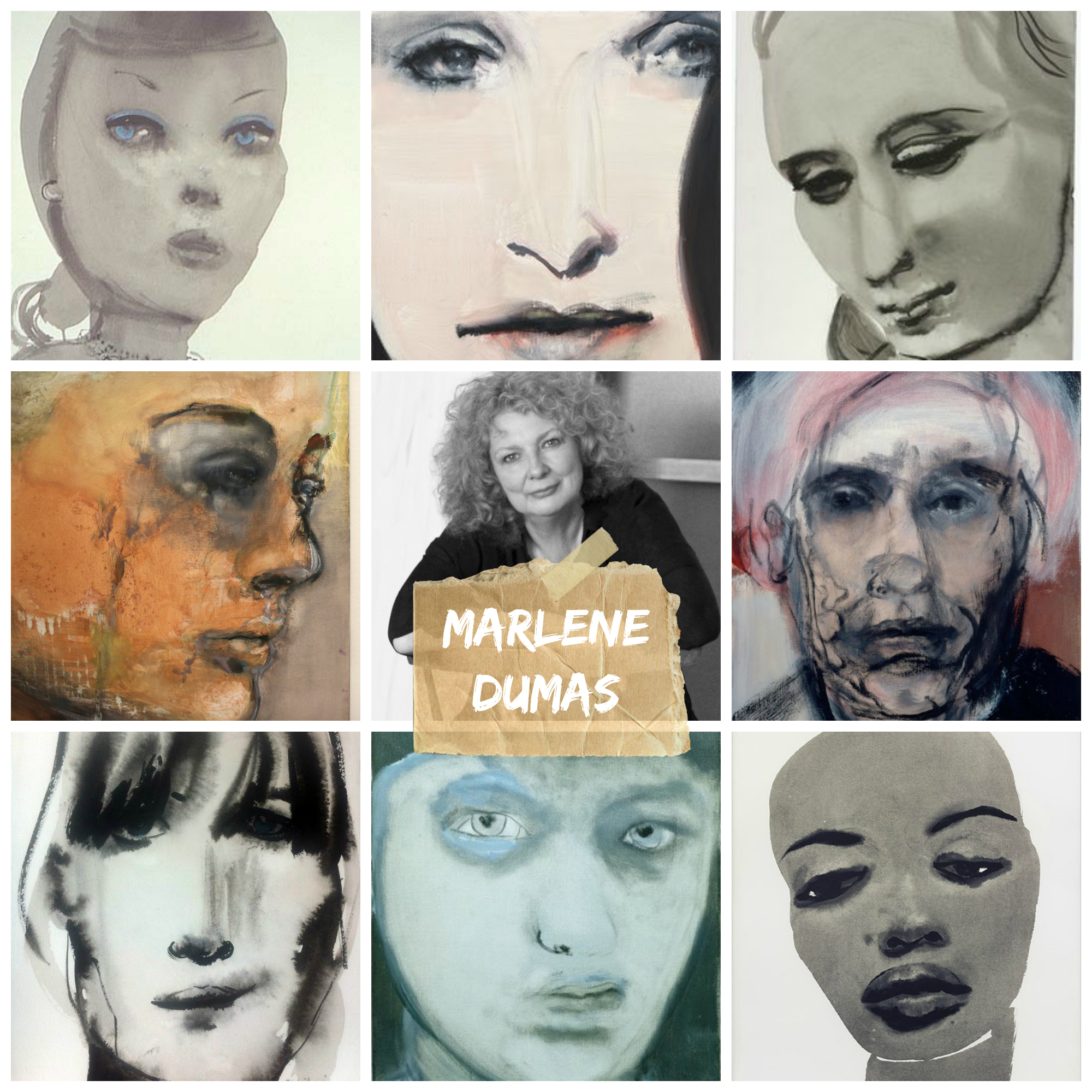 Marlene Dumas collage with type