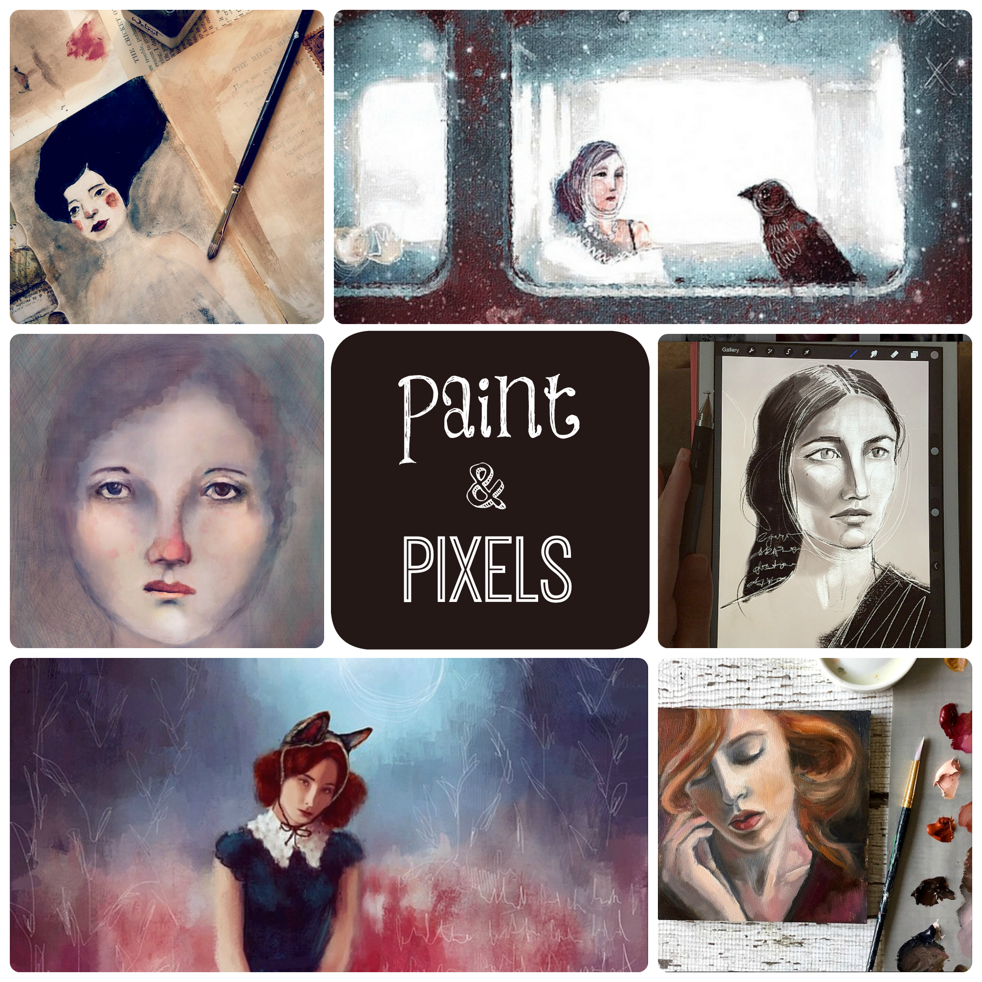 Paint & Pixels Promo Collage with text