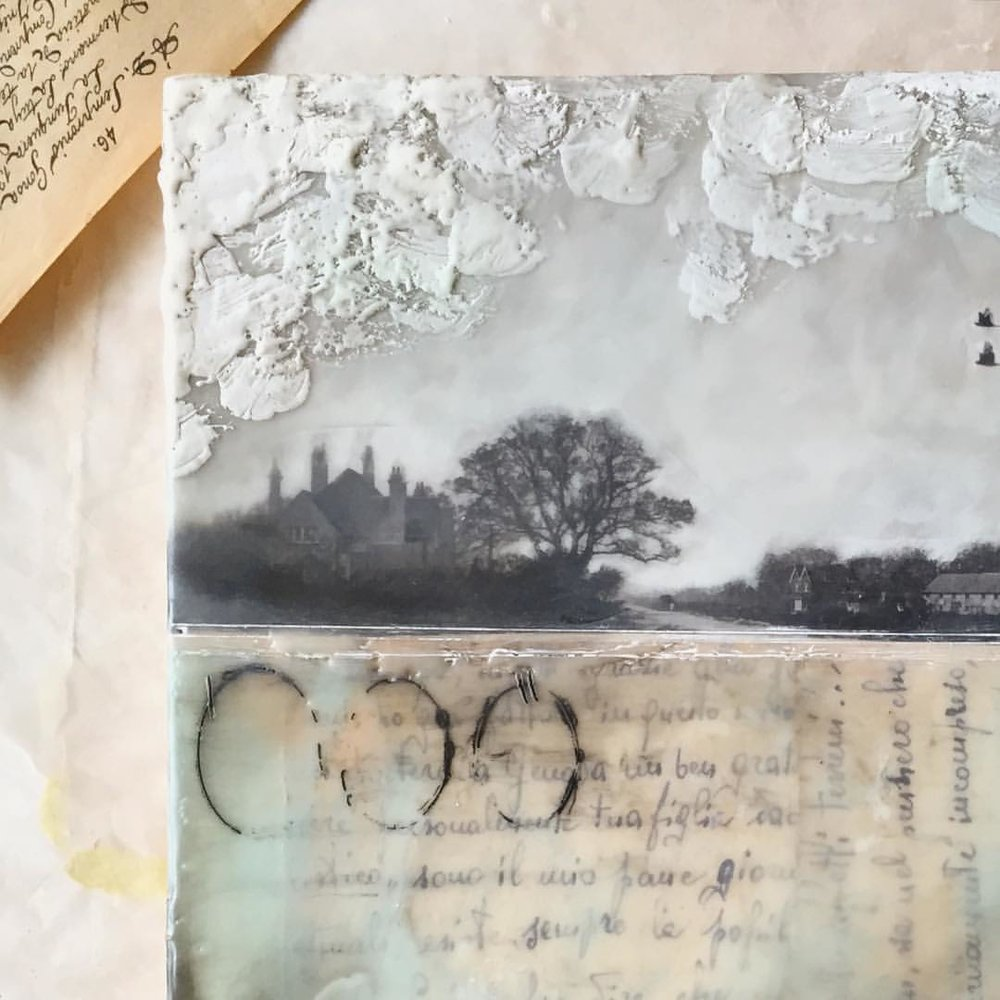 Collage and encaustic landscapes