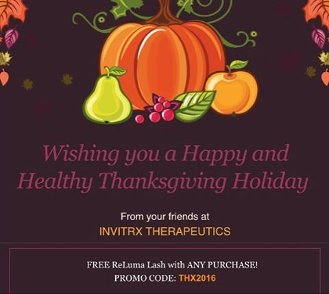In Spirit of the season to give, we here at Invitrx would love to give back as well! Use PROMO CODE: THX2016 for a FREE ReLuma Lash with any purchase 🦃 🎃