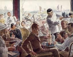 A watercolour of a cafe scene of the period