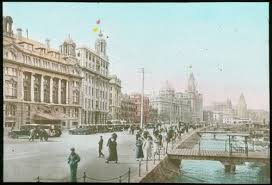 The hand-coloured print of the Bund around 1930.