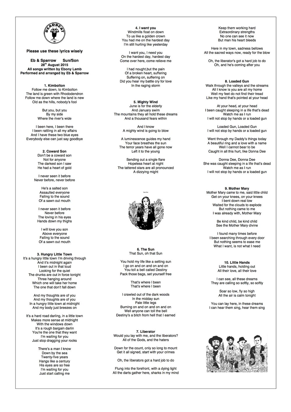 SUN/SON LYRIC SHEET