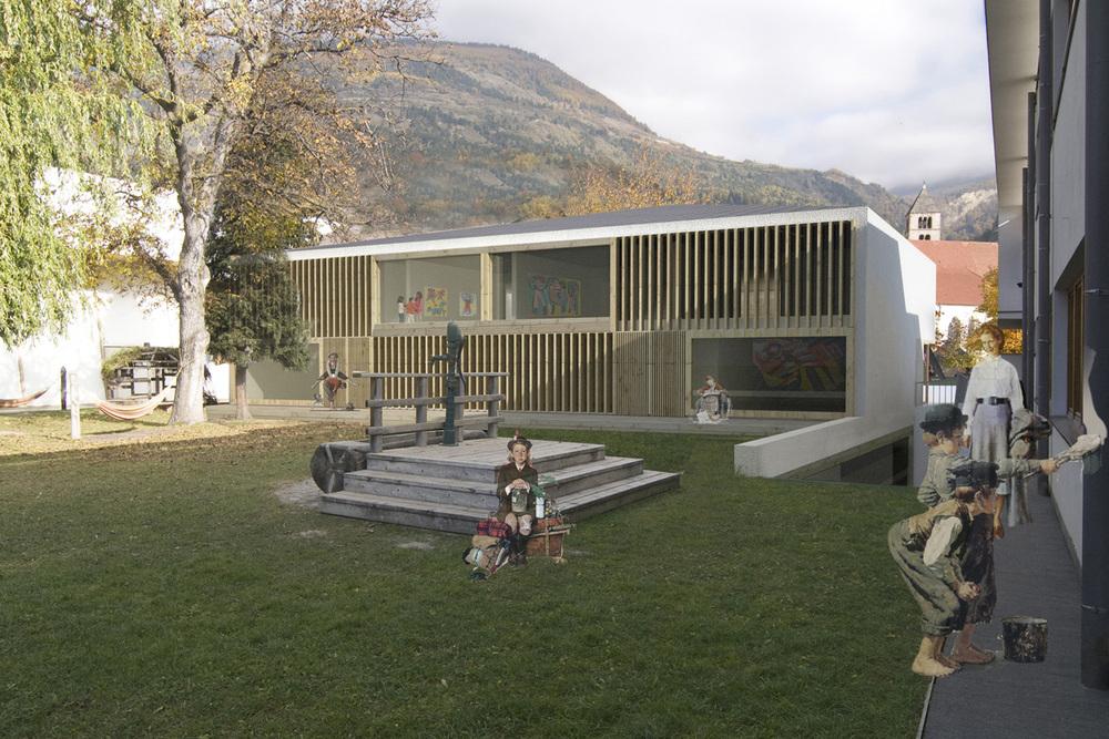 Scuola materna e sala musica, Sluderno, Bz