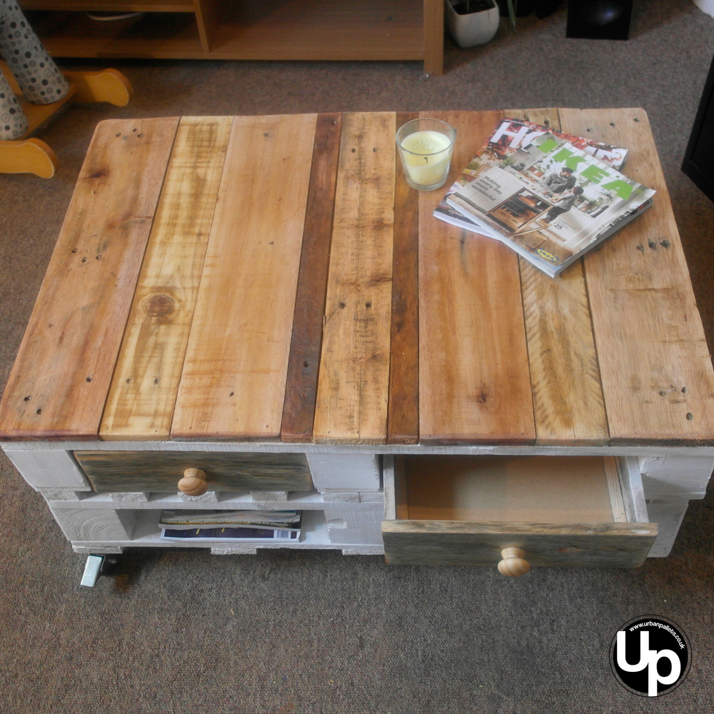 Shabby Chic Pallet Coffee Table Rustic Farmhouse 2 drawer on