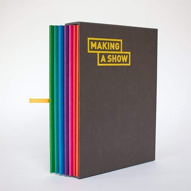 All seven Making a Show books within the limited edition slipcase designed by @brianarthurlambert @lukemc52 @nola_mellon @keithpho2o_design #makingashow2017 #dit #gradex #dublin #ireland #design @creativearts_dit @ditofficial