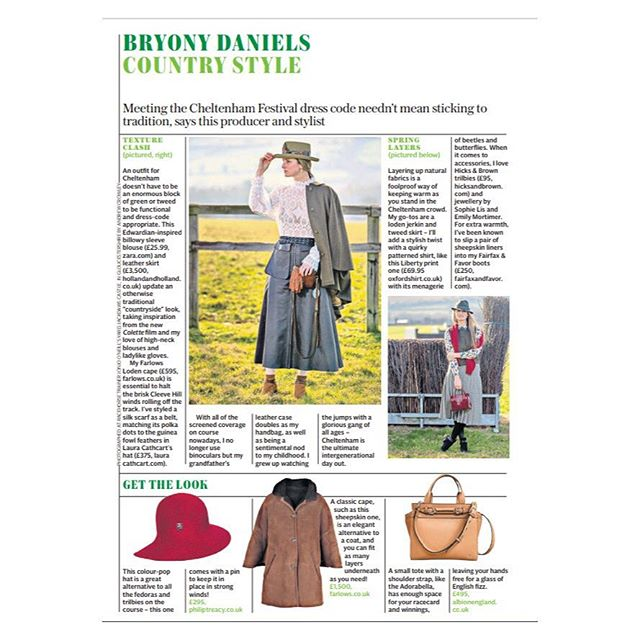 And they're off 🐎🐎🐎 The Festival at @cheltenhamraces starts today | What to wear? Take inspiration from @bryonydaniels as seen in the Sunday @telegraph | Featuring @farlowsuk @fairfaxandfavor @hicksandbrown @oxfordshirtco @emilymortimerjewellery @albionlifestyle | #countrystyle #racingstyle #cheltenhamraces #festivalfashion #thefestival #bloxhambrands