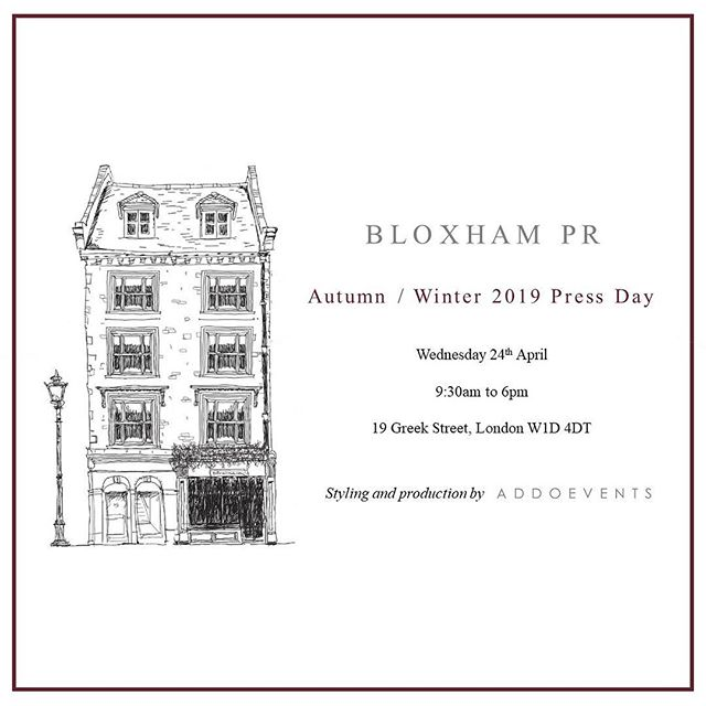 INVITATION 📌 We are delighted to invite you to our AW19 Press Day | Wednesday 24th April at @19greekstreet |  We welcome you to discover our curation of the best town and country fashion, footwear, jewellery and accessories.  Brands showcasing their latest collections include @fairfaxandfavor @aigleuk @whaleofatimeclothing @emilymortimerjewellery @hicksandbrown @rennejewellery @albionlifestyle @oxfordshirtco  #bloxhambrands  Styling & production by @addoevents
