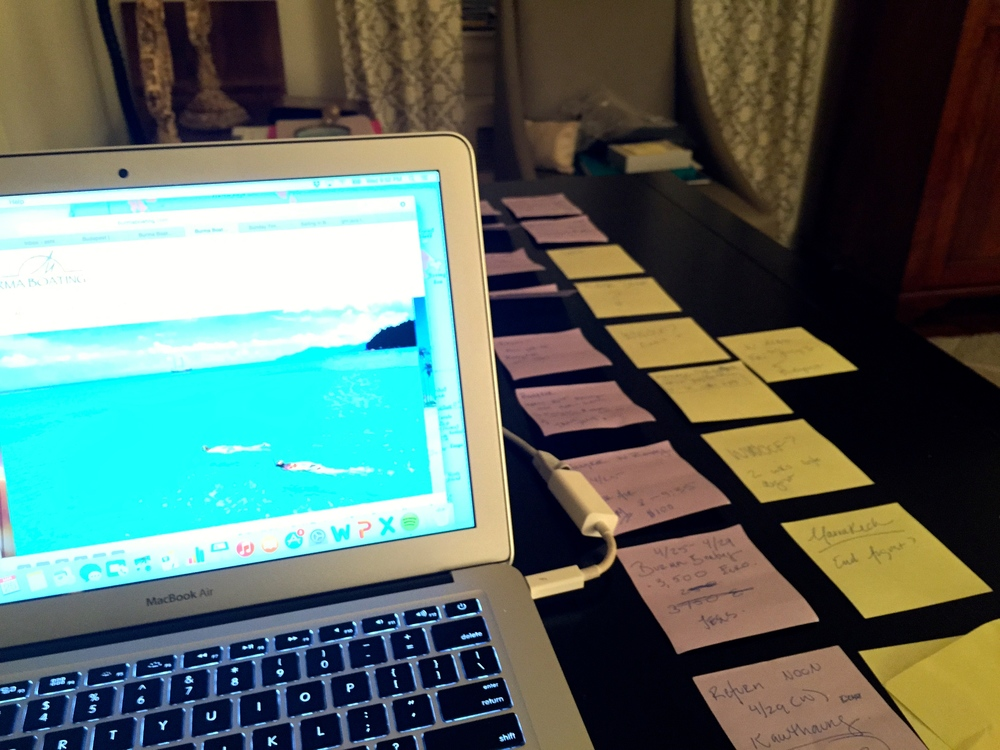 Trip planning meant writing every place I wanted to go on a post it... and seeing if it stuck.